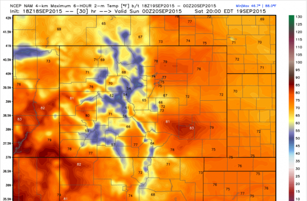NAM 4k model projected high temperatures for Saturday Sept 19